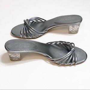 Coach Silver Slide Sandals w/ Clear Heel